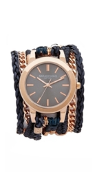 Sara Designs Leather And Chain Wrap Watch Navy Rose Gold