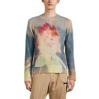 Oamc Tie Dyed Floral Fuzzy Knit Sweater Multi
