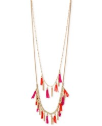 Inc International Concepts M. Haskell For Inc Gold Tone Pink And Orange Double Row Tassel Statement Necklace Only At Macy's