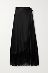 Miguelina Amara Fringed Silk Satin Wrap Maxi Skirt Black
