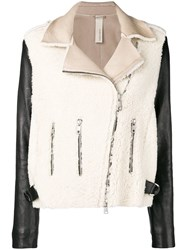 Giorgio Brato Two Tone Shearling Jacket Black