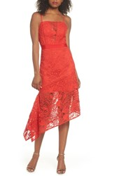 Harlyn Asymmetrical Hem Lace Dress Red