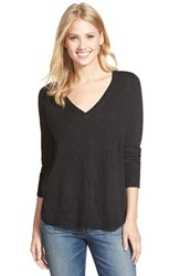 Petite Women's Caslon High Low V Neck Sweater Black Nep Pattern