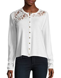 T Tahari Hayden Lace Trimmed Cardigan Antique