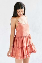 Ecote Tiered Swing Acid Wash Romper Rust