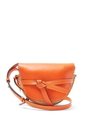 Loewe Gate Mini Leather And Raffia Cross Body Bag Orange Multi