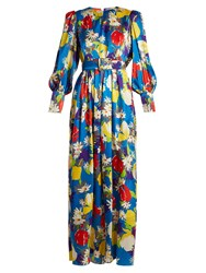 Duro Olowu Floral Print Silk Satin Dress Blue Multi