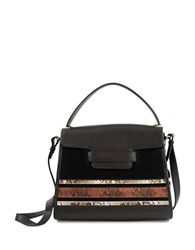 Sam Edelman Terri Leather And Suede Top Handle Bag Black