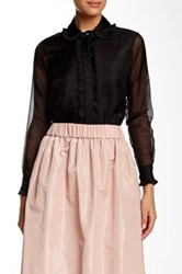 Orla Kiely Ruffled Accent Silk Shirt Black
