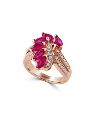 Effy Amore 0.34 Tcw Diamonds Ruby And 14K Rose Gold Ring Red