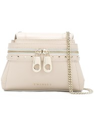 Twin Set Front Zip Crossbody Bag Nude Neutrals
