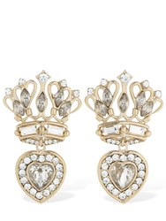Etro Small Crown And Heart Earrings W Crystals Gold