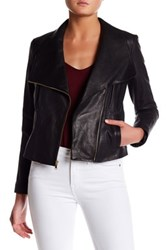 Cole Haan Asymmetrical Genuine Leather Jacket Black