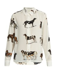 Stella Mccartney Dog Print Silk Crepe Shirt White Multi