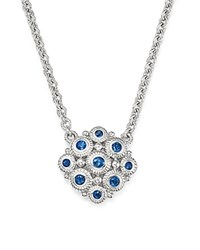 Judith Ripka Sterling Silver La Petite Snowflake Pendant Necklace With Sapphire 17 White Silver