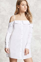 Forever 21 Open Shoulder Button Up Shirt White