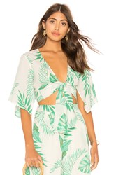 J.O.A. Tie Front Crop Top With Flutter White