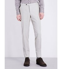 Thom Sweeney Regular Fit Wool Trousers Cream