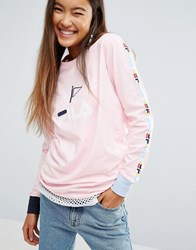 Fila Oversized Long Sleeve Skate Top With Logo Tape Pink