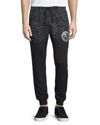 Prps Speckled Logo Patch Sweatpants Black White