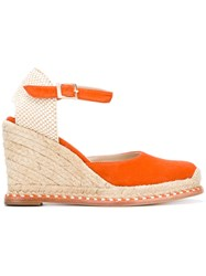 Paloma Barcelo 'Marie Cord' Sandals Women Raffia Leather Suede 37 Yellow Orange