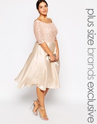Truly You Lace Bardot Full Skirt Midi Dress Nude