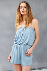 Silence And Noise Strapless Knit Romper Slate