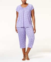 Charter Club Plus Size Lightweight Pajama Set Only At Macy's Lilac Daisies