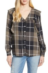 Bobeau Ruffled Plaid Shirt Black Plaid