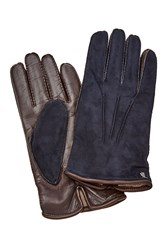 Tod's Tods Suede And Leather Gloves Blue