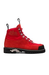 Off White Cordura Hiking Boots Red