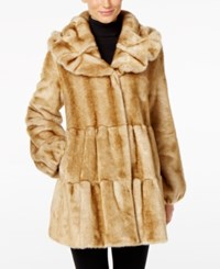 Jones New York Tiered Faux Fur Walker Coat Beige Mink