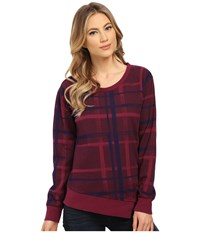 Alternative Apparel Eco Micro Fleece Voyager Crew Neck Raspberry Brush Plaid Women's Fleece Red