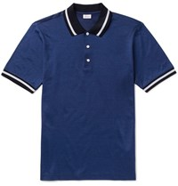 Brioni Slim Fit Contrast Tipped Cotton And Silk Blend Pique Polo Shirt Blue