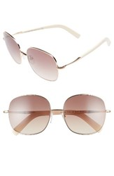 Tom Ford Women's Georgina 57Mm Gradient Lens Square Sunglasses Rose Gold Ivory Brown Rose Gold Ivory Brown