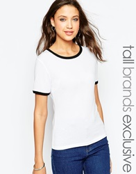 New Look Tall Crew Neck Tee With Contrast Binding White