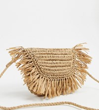 South Beach Exclusive Half Moon Frayed Straw Clutch Bag With Detachable Strap Beige