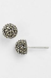 Judith Jack Stud Earrings Silver Marcasite