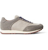 Loro Piana Weekend Walk Two Tone Suede Sneakers Neutrals