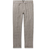 Todd Snyder Grey Slim Fit Checked Linen Trousers Gray