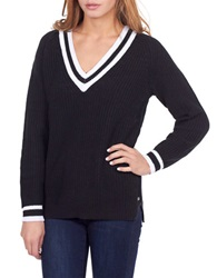 William Rast Striped Tennis Sweater Black