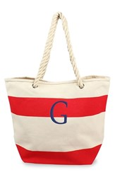 Cathy's Concepts Personalized Stripe Canvas Tote Red Red G