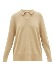 Ryan Roche Faux Pearl Buttoned Cashmere Polo Shirt Beige