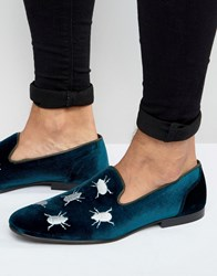 Asos Loafers In Velvet With Beetle Embroidery Teal Green