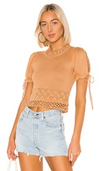 House Of Harlow 1960 X Revolve Kyra Top In Tan. Camel