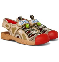 Gucci Tinsel Logo Detailed Rubber Leather And Mesh Sandals Red
