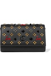 Christian Louboutin Paloma Embellished Textured Leather Clutch Black