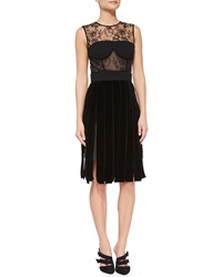Oscar De La Renta Lace And Velvet Bustier Cocktail Dress Black