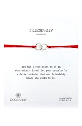 Dogeared Women's Double Linked Friendship Bracelet Red Silver