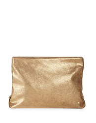 Halston Gold Shimmer Leather Clutch